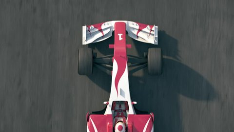 Top view of a formula one race car driving across the finish line with success written on the track - realistic high quality 3d animation - see portfolio for more