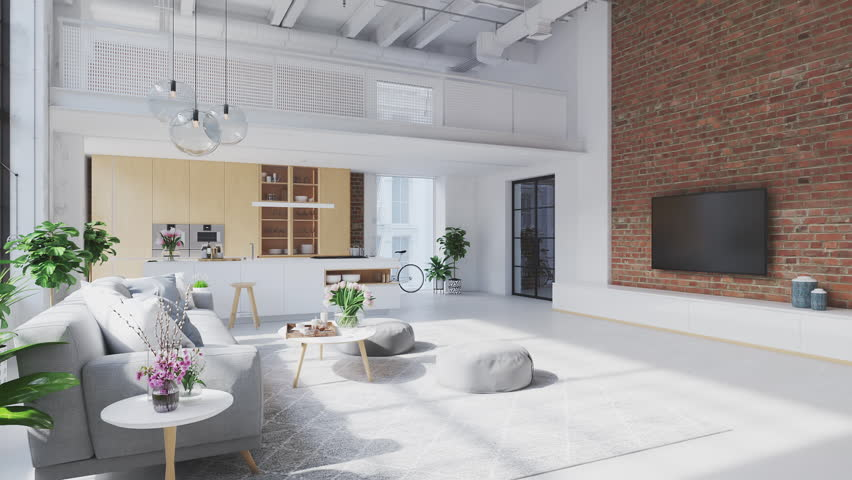 3D-Illustration. loft apartment with living room and kitchen. | Shutterstock HD Video #1028925686