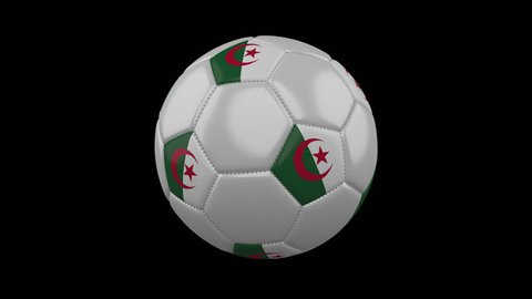 Soccer ball with flag Algeria, 3d rendering, rotation loop