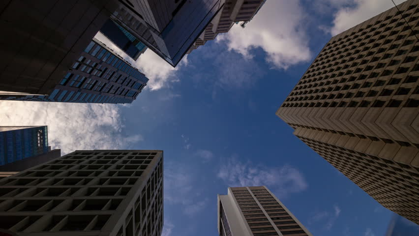 Hong kong city sunny day downtown skyscraper up view panorama 4k timelapse | Shutterstock HD Video #1028975906