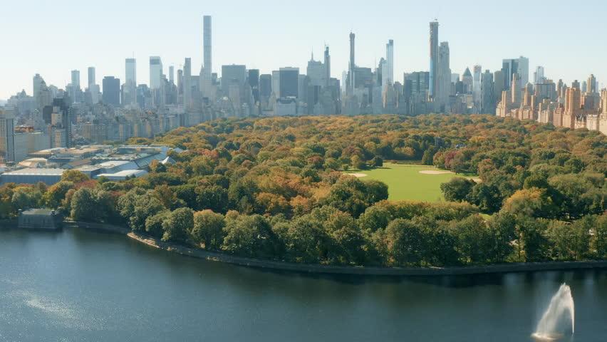 Aerial view Central Park Manhattan New York City 4K
