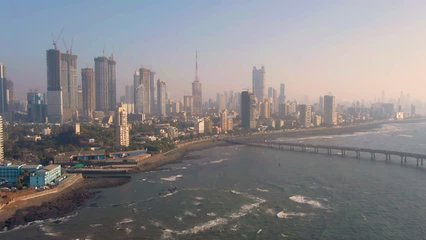 Mumbai, India, Worli sea link bridge, 4k aerial drone footage
