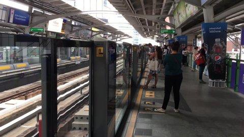 BTS or sky train arriving station. Filmed on March 05, 2019 at Asoke station.