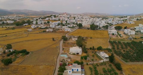 Aerial: Looking Downs on Backyards and Neighborhood in Paros in Paros, Greece