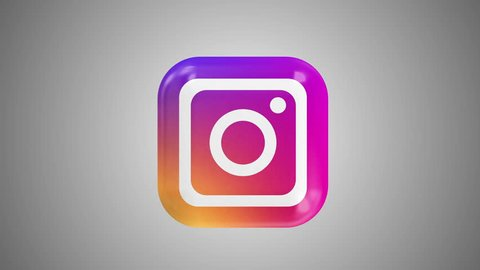 Kiev, Ukraine - May 8, 2019: Instagram logo icon loop rotation animation on gradient background. Instagram - free application for sharing photos and videos online