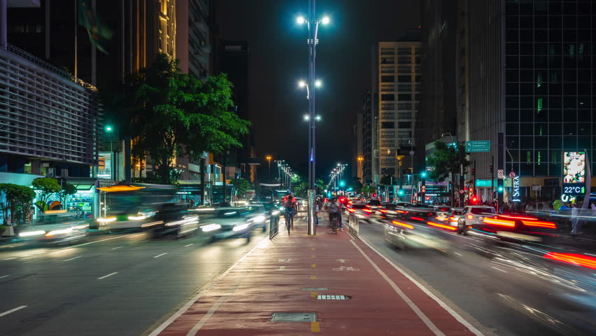 Sao Paulo, Brazil - January 27: Night time lapse view of traffic on Paulista Avenue in Sao Paulo, Brazil.