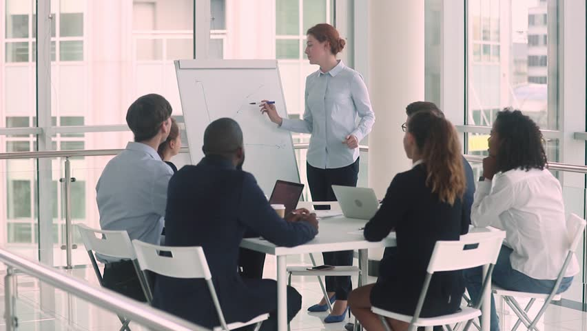 Woman business trainer teach diverse staff at seminar corporate lecture, company boss businesswoman makes presentation to clients investors show firm success sales growth positive stats use flip chart | Shutterstock HD Video #1029333356