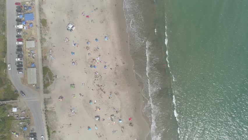 AERIAL - Overhead of Foggy Beach | Shutterstock HD Video #1029334346