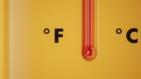Red scale yellow thermometer close up. Growing up temperature on thermometer scale. Temperature Rising. Yellow background animation