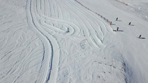 aerial shoot top view of one of the ski slopes in the snowy mountains of Andorra