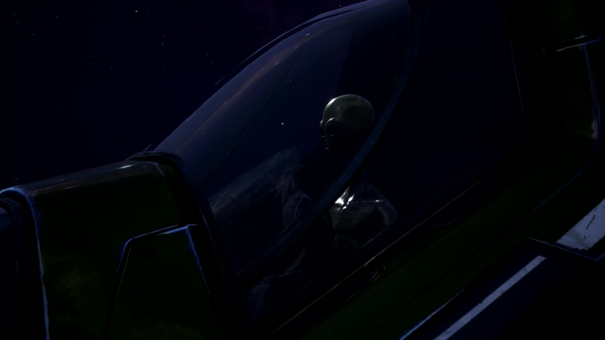 The Pilot alien in the spaceship to contact with the mother ship of the enemies | Shutterstock HD Video #1029428126