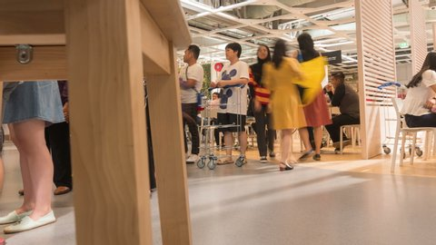 PENANG, MALAYSIA - MAY 4, 2019 - timelapse of crowded people in the cafe of IKEA wholesale market.