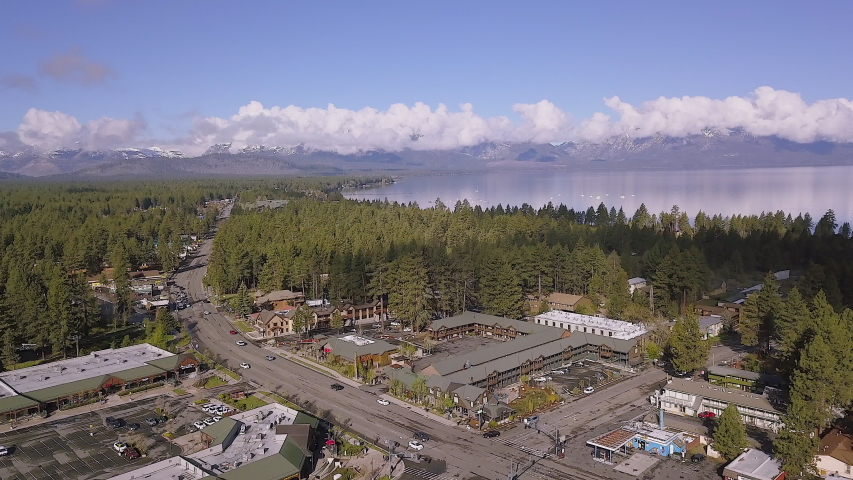 Drone footage above the main road in South Lake Tahoe, California. Footage was captured in the Spring of 2018. 4K