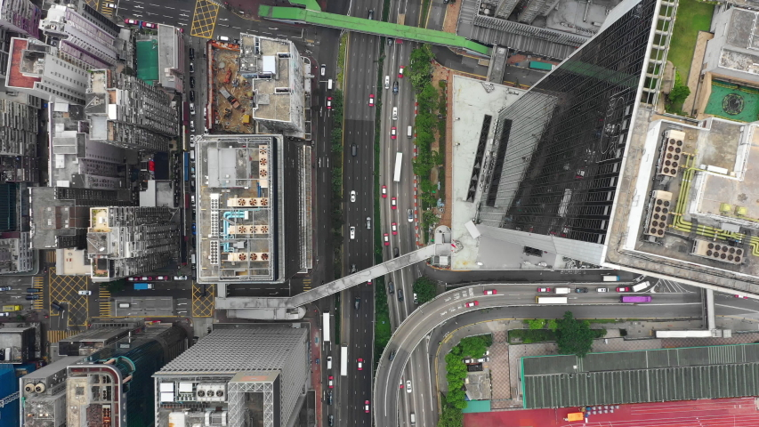 HONG KONG - OCTOBER 7 2018: city downtown day time traffic street road aerial topdown panorama 4k timelapse circa october 7 2018 hong kong. #1029495146