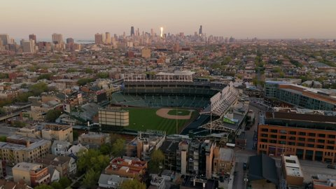 Chicago, Illinois / USA - May 13 2019: Dolly In Towards Historic Wrigley Field - Home of the Chicago Cubs [4K]