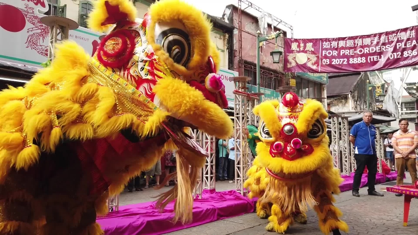Kuala Lumpur, Malaysia Feb 7 2019:  Lion dance show on first day of Chinese New Year Festival in Petaling Street.