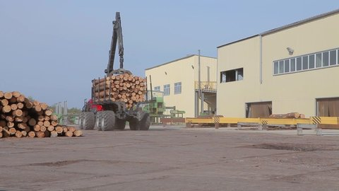 Transportation of logs, truck with logs, red truck carrying logs at a sawmill