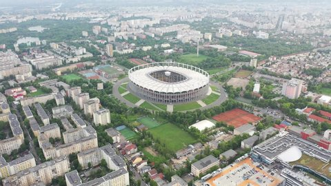 Bucharest national stadium and cityscape drone