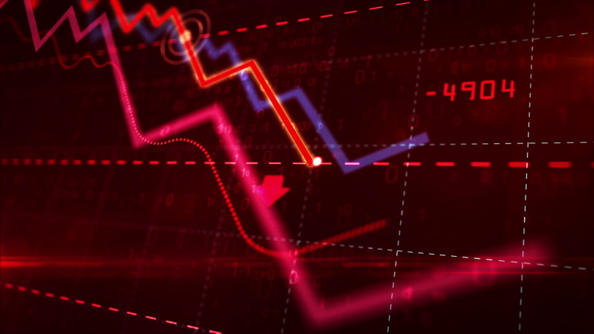 Stock markets down dynamic chart on dynamic red background. Concept of financial stagnation, recession, crisis, business crash and economic collapse. Downward trend 3d animation. | Shutterstock HD Video #1029607166