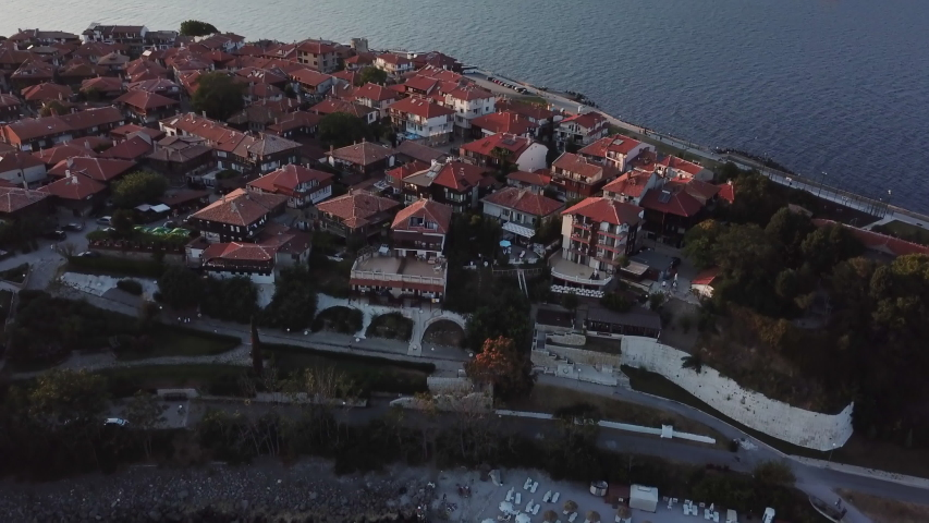 Aerial view of old Nessebar, ancient city on the Black Sea coast of Bulgaria, UNESCO World Heritage, on sunset