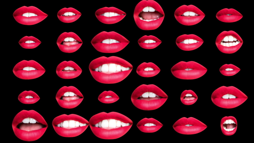 Time lapse sequence of woman's full red lips talking and moving against black background with overlayed distortion  | Shutterstock HD Video #1029622226