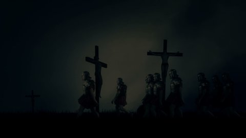 Roman Soldiers Passing By Crucified Victims Under a Storm