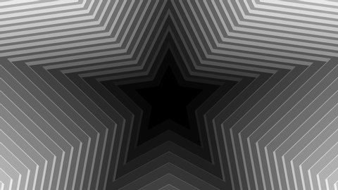Abstract CGI motion graphics and animated background with white and black stars. 4K Transition masks templates