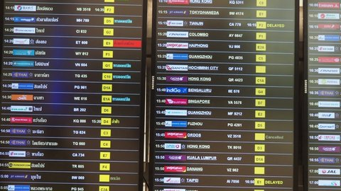 Bangkok, Thailand - March 21, 2019: schedule information board arrivals and departures in Suvarnabhumi Airport of Bangkok