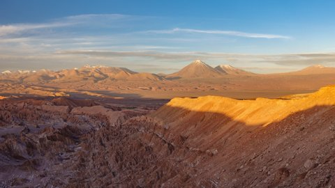 Sunset shadow over mars valley and Licancabur volcano in Atacama