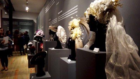SAO JOAO DA MADEIRA, PORTUGAL - MAY 18, 2019: Spanish designer Araceli Sancho's  Visual Narratives head wear exhibition at the Chapelaria Museum celebrates the International Museum Day.