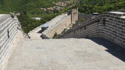 Walking over the Great Wall of China historical fortifications