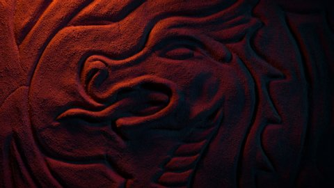Ancient Dragon Wall Carving In Fire Glow