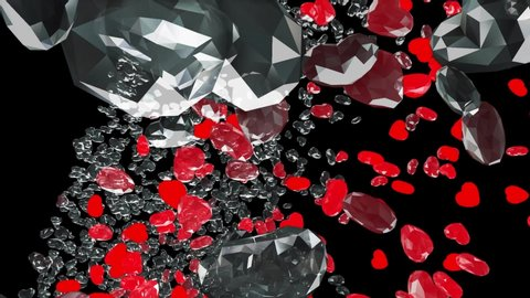 An engaging animation of diamonds and crystals, both transparent and red, heart-shaped,ing backwards in space. Concept: precious love, valentine, romance, expensive gifts.