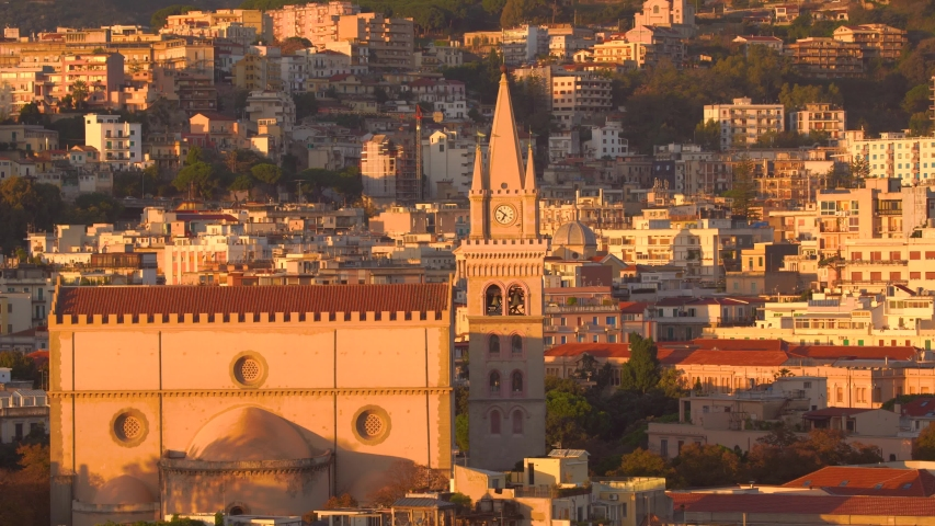 MESSINA, ITALY - NOVEMBER 06, 2018 - Panoramic view of the city and the Duomo di Messina or Messina Cathedral in Sicily in 4k | Shutterstock HD Video #1029876026