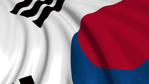 South Korean flag in slow motion. The flag develops smoothly in the wind. Wind waves spread over the flag. This version of the flag in smooth motion is suitable for almost any video