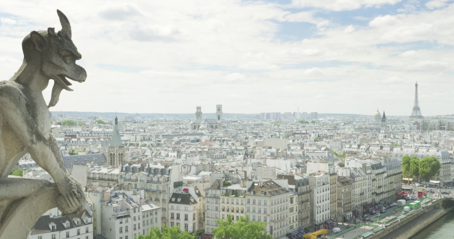 Paris cityscape with Eiffel Tower, view from Notre Dame | Shutterstock HD Video #1029921326