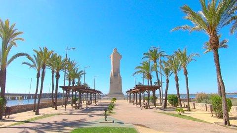 Discovery Faith Christopher Columbus Monument in main access to Punta del Sebo Beach in Huelva, Spain