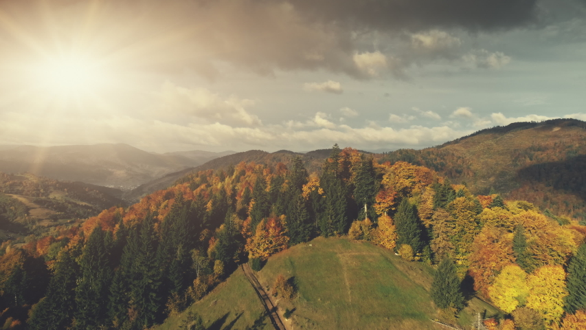 Carpathian Mountain Autumn Sunset Scenery Aerial View. Epic Wild Nature Forest Hill Landscape Country Road Overview.  | Shutterstock HD Video #1029936626