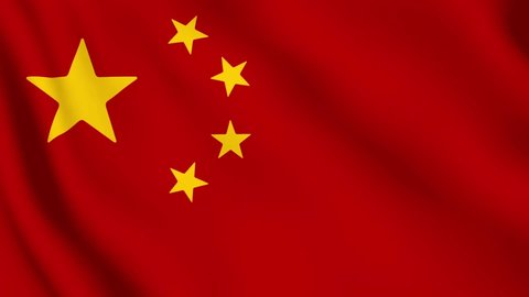 realistic chinese flag waving video footage looping