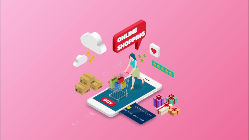 Isometric woman shopping on smart phone. E-commerce online concept female person with shopping cart, technology store. 4k 60fps   Shutterstock HD Video #1030097306