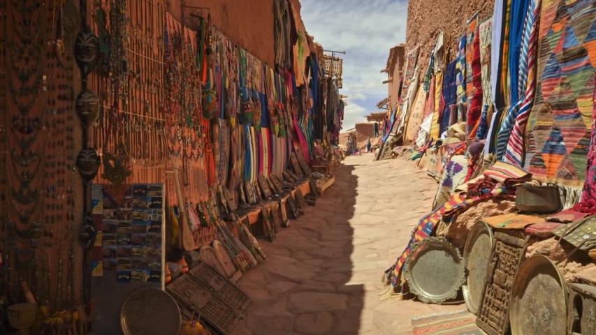 Market stall in Aït Benhaddou Morocco  | Shutterstock HD Video #1030107386