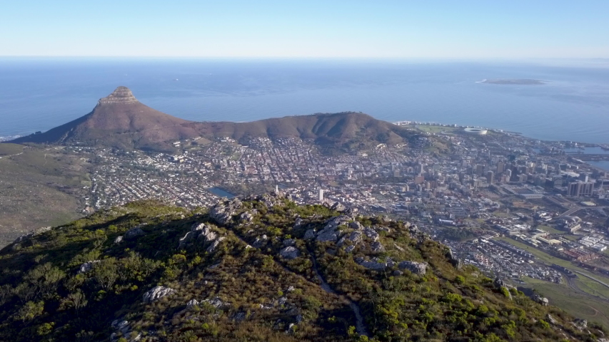 Aerial view from Table Mountain to Cape Town, South Africa | Shutterstock HD Video #1030112426