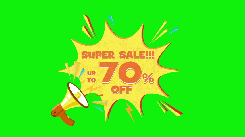 Super sale text up to 70% off megaphone flying 3d animation on green screen  | Shutterstock HD Video #1030133876