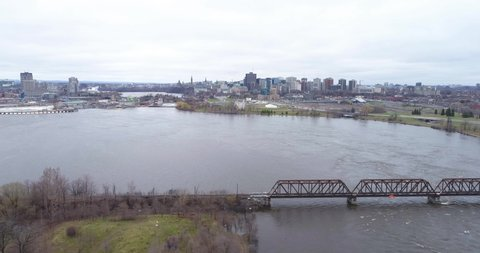 View of the flooded Ottawa river by drone 2019.
