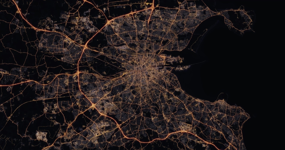Aerial night view of city of Dublin Ireland. Traffic and street light glowing. Camera flying high above. Zooming in city district and rotating cinematic filming straight down. 3d animation rendering. | Shutterstock HD Video #1030148546