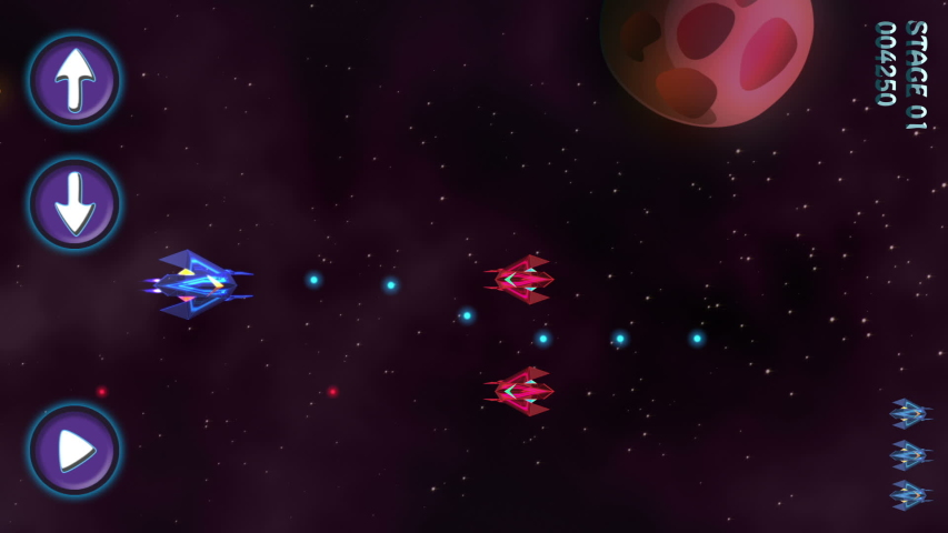 Space War Arcade Machine Video Game Animation Concept. Spaceship in Galaxy. Horizontal Orientation. Specially Painted And Animated. Interface for Smartphone.