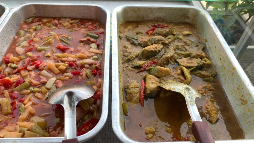 Stir fried chili, pork and chicken, Red green hot chili pepper, Thai food