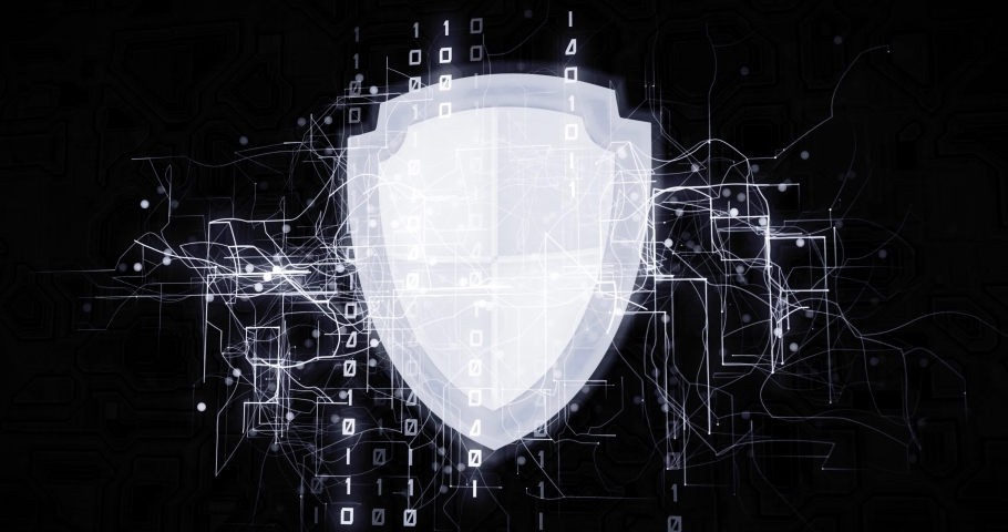 Antiviral shield in virtual cyberspace network with binary code, futuristic technological projection as 4k animation detail | Shutterstock HD Video #1030242386