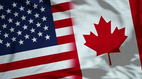 Usa and Canada Flag Loop - Realistic 3D Illustration 4K waving in the wind. Seamless loop with highly detailed fabric texture. Loop ready in 4k resolution
