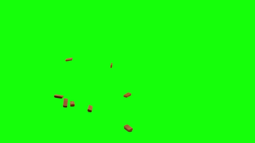 Brick Debris in top and side views, brick greenscreen, Destruction Falling and flowing bricks Debris Green Screen, explode, explosion, fall apart, use in movies, Destruction Fall Bricks, wall explode | Shutterstock HD Video #1030303016